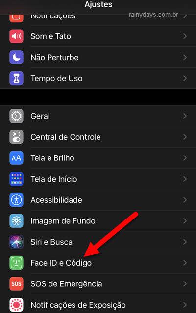 Face ID e Código ajustes iPhone
