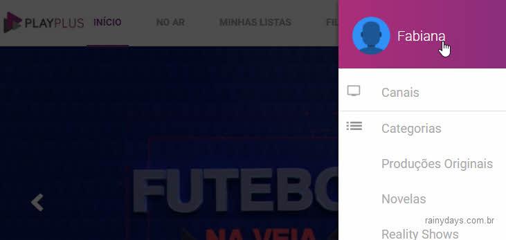menu lateral PlayPlus, nome abrir perfil