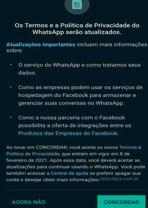 Posso não concordar com as políticas do WhastApp depois de ter aceitado?