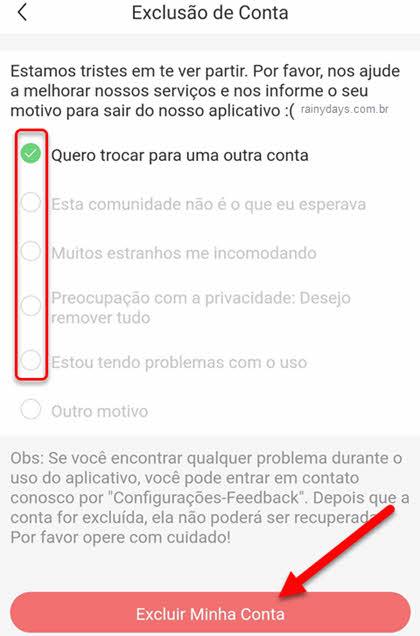 Selecione motivo para excluir conta do app Kwai