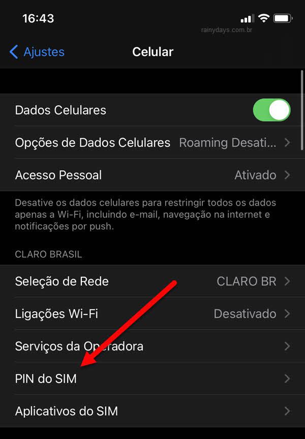 Ajutes Celular PIN do SIM iPhone