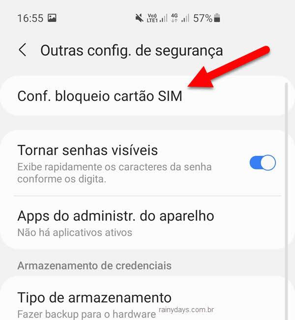 Configurar bloqueio cartão SIM chip celular Android
