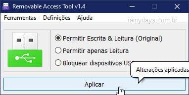 Desfazer bloqueio de uso de dispositivos USB no Windows Ratool