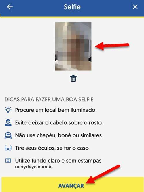 Enviar selfie foto de si mesmo, prova de vida INSS app BB