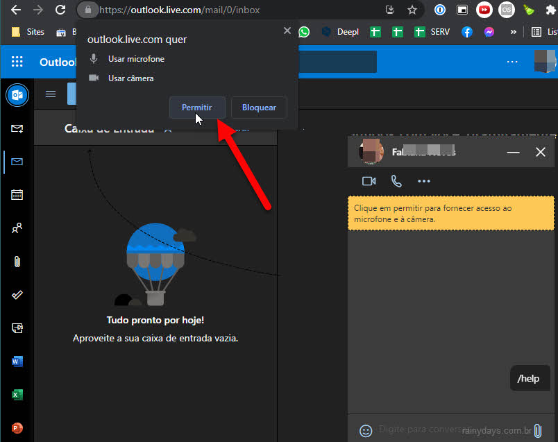Permitir Outlook.com usar microfone câmera para Skype
