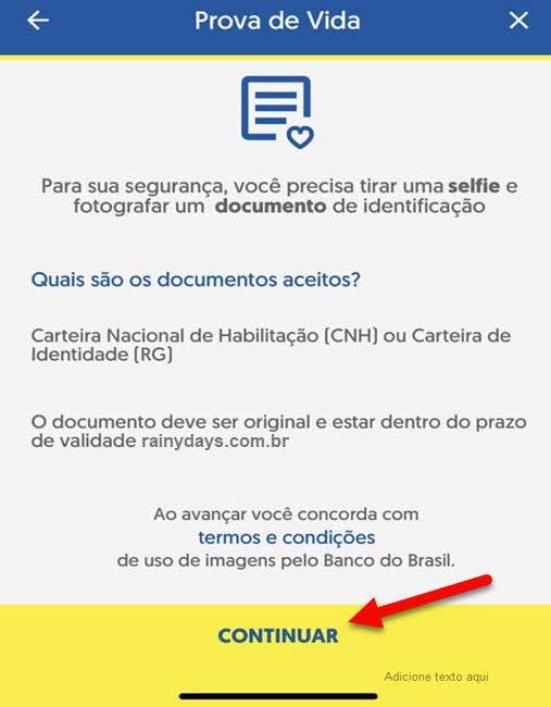 Envio de documentos CNH ou RG pelo app BB
