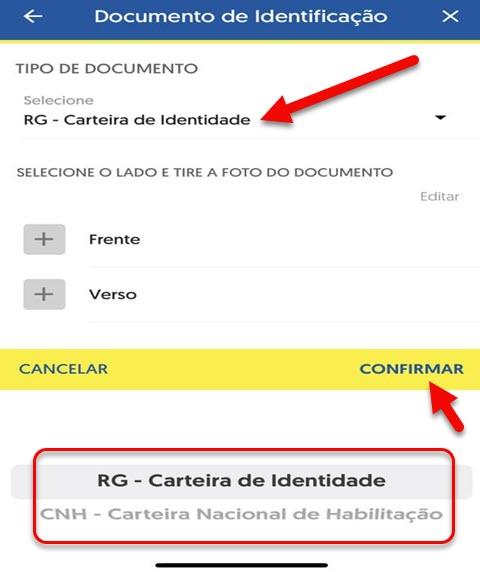 Selecionar documento prova de vida INSS app BB