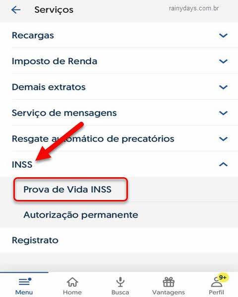 Serviços INSS Prova de Vida aplicativo BB Android iPHone