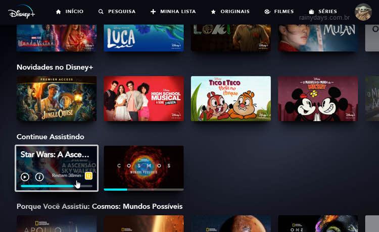 seecionar filme, série lista de continue assistindo Disney Plus