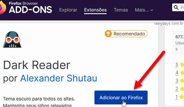 Adicionar ao Firefox extensão Dark Mode modo escuro no Gmail