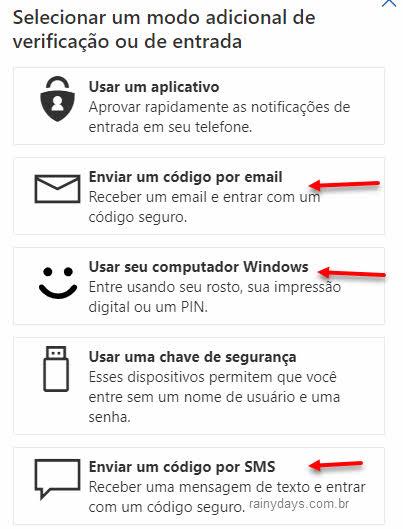 Adicionar modo adicional de verificação conta Microsoft email, sms, Windows Hello