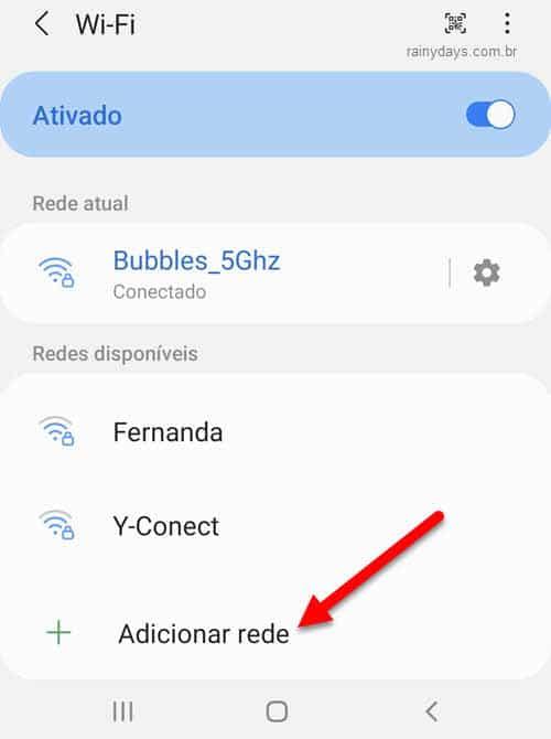adicionar rede WiFi no Android