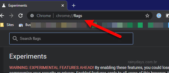 Chrome://flags abrir recursos experimentais Chrome