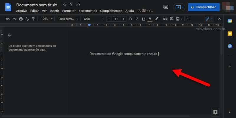 Como ativar modo escuro no Google Docs e deixar o documento escuro