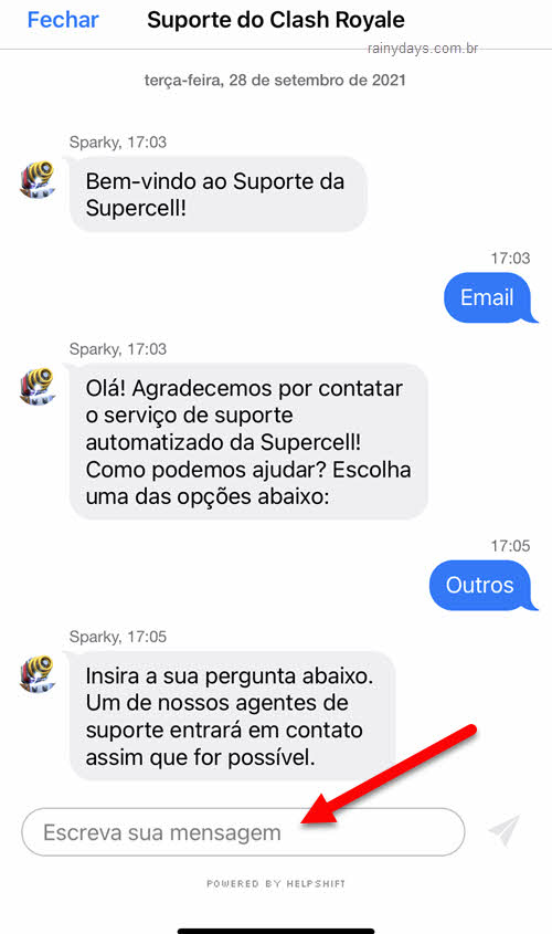 Enviar pergunta para alterar email da conta Supercell ID Clash Royale