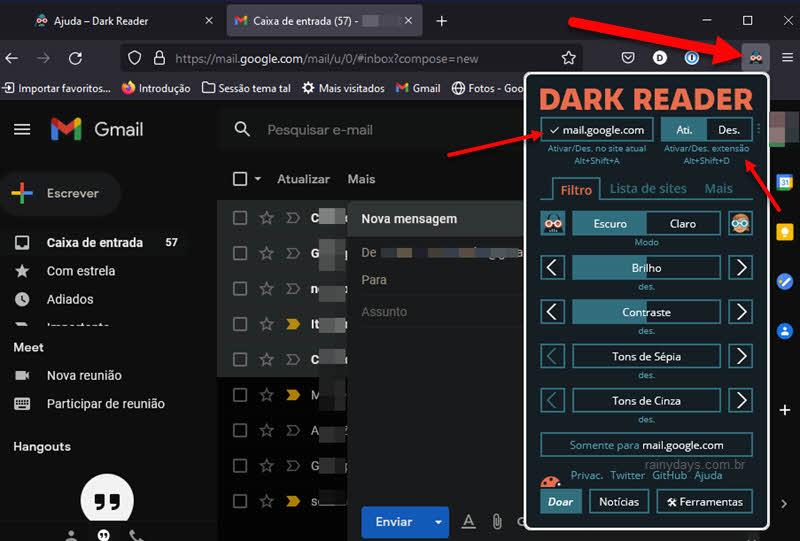 Extensão dark reader Firefox para ativar modo escurdo no Gmail do computador