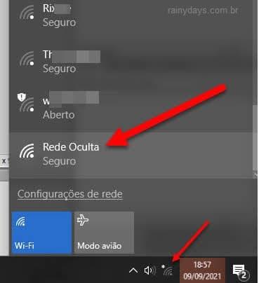 ícone rede oculta Barra de Tarefas Windows