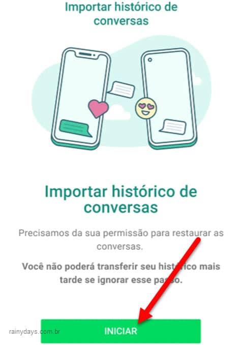 Importar histórico de conversas do iPhone para Samsung Android
