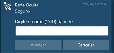 Nome da rede SSID rede WiFi oculta Windows