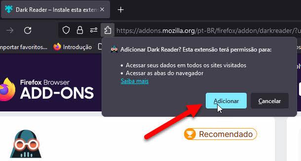 Permissão extensão Dark Reader no Firefox