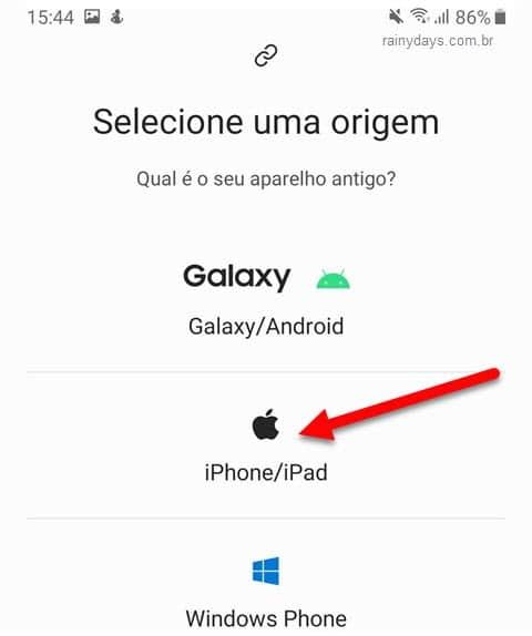 Selecionar origem de onde vai transferir dados para o celular Samsung Android