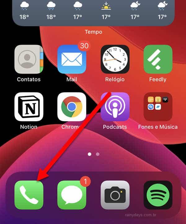 botão app Telefone do iPhone
