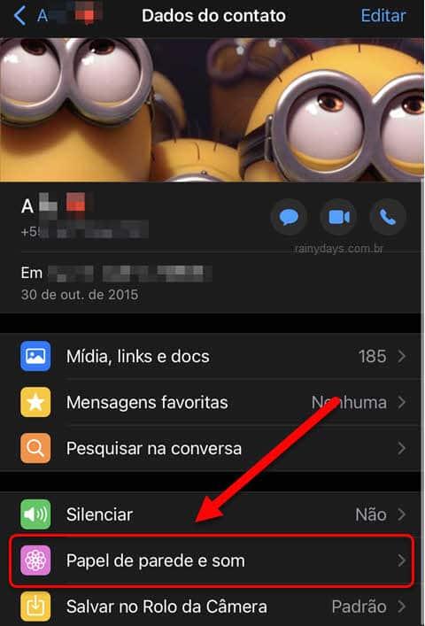 Dados do contato Papel de parede e som WhatsApp iPhone