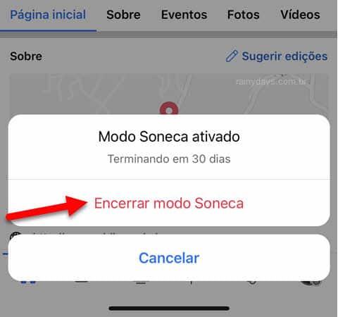 Encerrar modo Soneca de pessoa no app Facebook celular