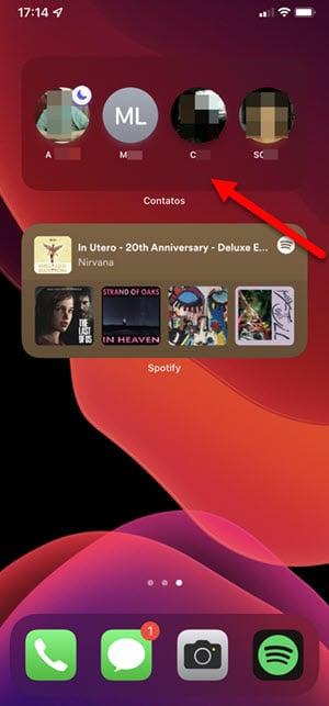 widget de Contatos do iPhone